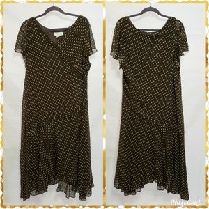 Adrianna Papell Woman Polka Dot Dress SZ 20W  Silk